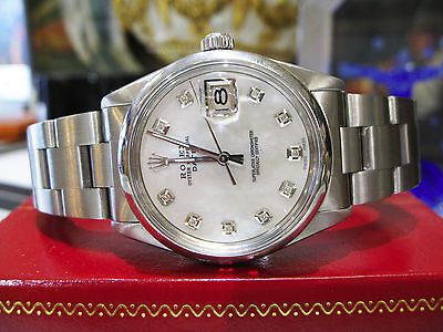 Mens ROLEX Oyster Perpetual Date 34mm Stainless Steel Diamond Watch
