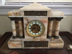 Antique 1800's French Marble Mantel Clock Chimes & Columns & Bronze Gilt Works
