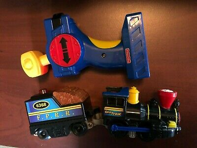 fisher price geo trax timber town railway steam engine train cards & remote 6368