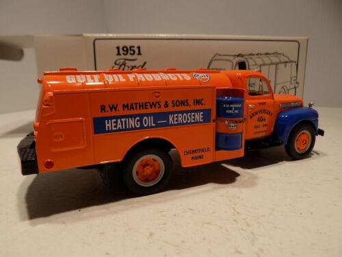 First gear 1951 Ford F 600 Gulf Oil Co Tanker Truck & Oil Drum NOS MIB # 18-1764