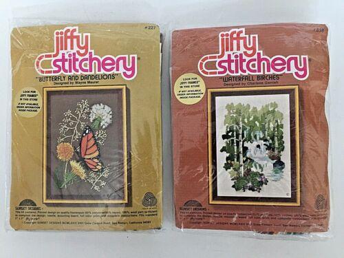 """2 Jiffy Stitchery Kit Butterfly Dandelions & Waterfall Birchesl Embroidery 5""""x7"""""""