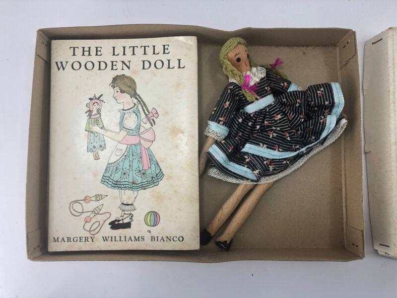 Vintage 1953 Antique LITTLE WOODEN DOLL ORIGINAL BOX SET w/ BOOK Japan Shackman