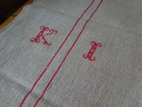 Antique European Feed Sack GRAIN SACK KI Monogram 8743