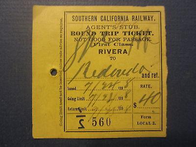 1898 Southern California RAILWAY Train TICKET - RIVERA - REDONDO - Round Trip