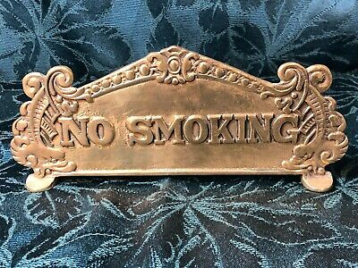 Antique 'Top Sign' Solid Brass National Cash Register - NO SMOKING /  THANK YOU