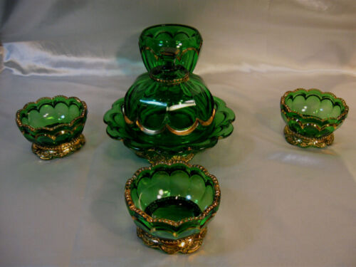 ANTIQUE FIVE PEACE SET OF RIVERSIDE EMPRESS EAPG GREEN AND GOLD GLASS