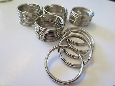 "new WHOLESALE LOT 10 STURDY metal KEY RINGS SPLIT KEYCHAIN 28mm 1-1/8"" Dia"