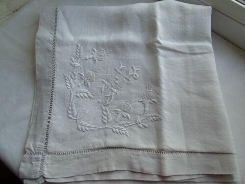 French vintage white cotton  linen euro sham pillow case nice detailed