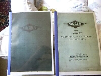 SINGER NINE CATALOGUES OF SPARE PARTS - 1933 and 1934 (reprinted)