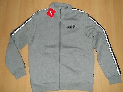 Mens PUMA Grey Full Zipped Top Fleece Lined tracksuit jacket medium new uk selle