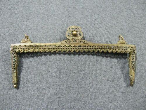 Antique Filigree Flowers Frame & Clasp Goldtone Metal Purse Frame