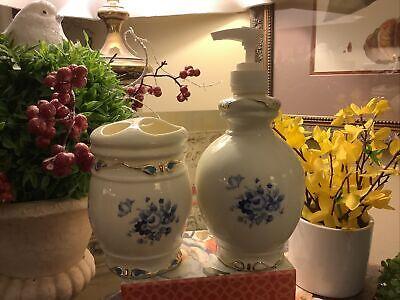 Blue & Cream~Floral Motif~Toothbrush Holder & Soap Dispenser~FREE SHIPPING~Nice~