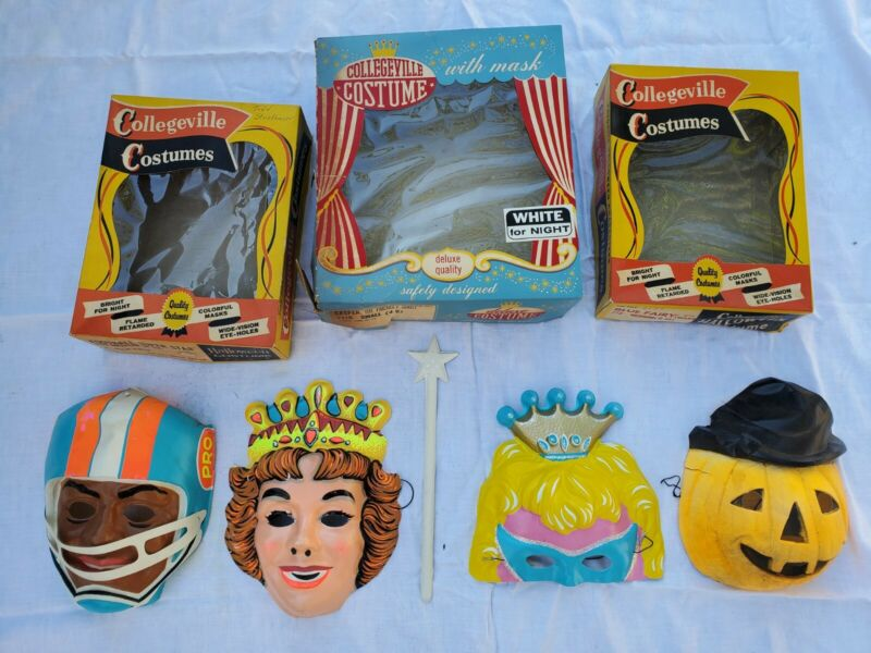 4 VINTAGE COLLEGEVILLE  HALLOWEEN COSTUME MASK w. Boxes