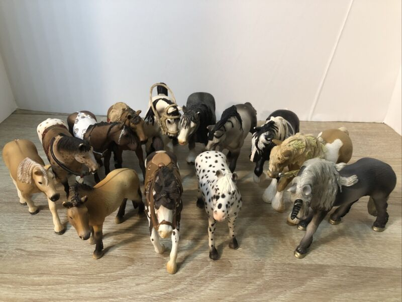 Schleich Retired Lot of 12 Horses and 1 Unicorn Used Realistic Animal Figures