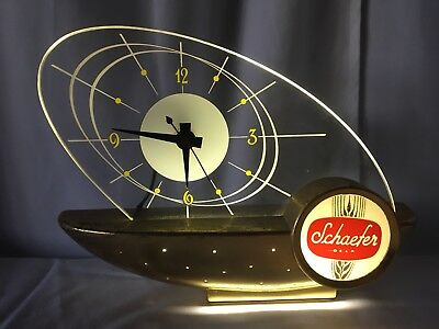 SCHAEFER BEER ATOMIC SAILBOAT CLOCK MID CENTURY MODERN VINTAGE