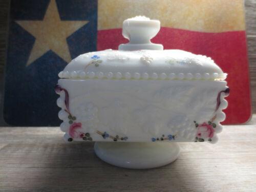 Westmoreland White Milk Glass Beaded Grape Wedding Box Candy Dish Bowl