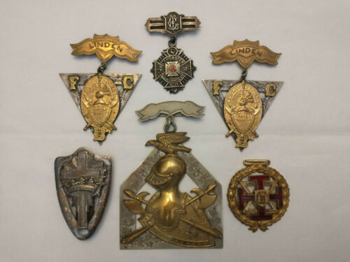 Fraternal Group 6 Pieces: Knights Templar & 33rd Medal V, 1 Named: John Hull
