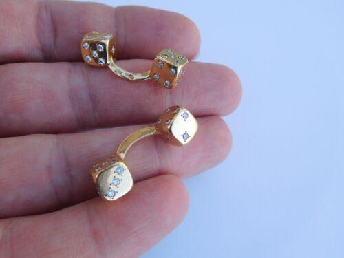 French Art Deco 18K Solid Gold Eternal Luck Toi Et Moi Diamonds Dice Cufflinks !