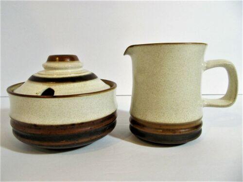 Denby POTTERS WHEEL Creamer & Sugar Bowl Set Mid Century Stoneware Earthenware