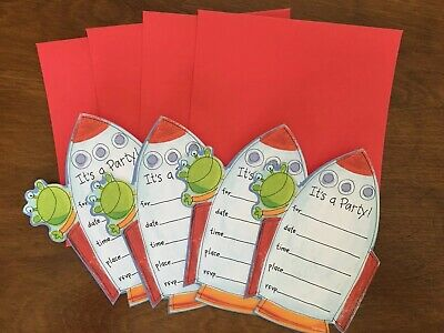 Kids Birthday Party Invitations (4) Space Ship Red - Kids Invitations
