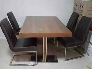 MODERN DINNING TABLE WITH 4 CHAIRS BROWN LEATHER  IMMACULATE Bass Hill Bankstown Area Preview