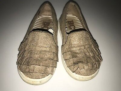 (BC Footwear Toddler Girls Brown Lil Ruffled Slip On Shoes Size 7 Neutral Casual)