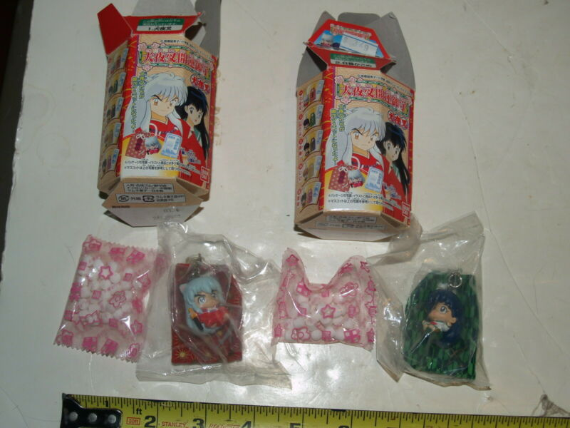 Pair of 2 Bandai 2002 boxes with candy and Inuyashi Keychain Figures-sealed