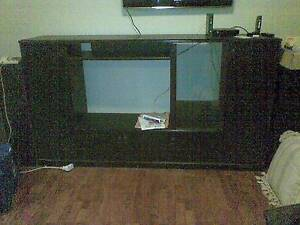 Black TV Stereo Table optional black speakers Wakeley Fairfield Area Preview