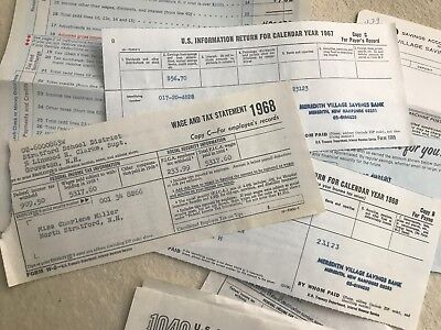 huge Lot of 1960s 70s Tax receipts wage accounting chevron texaco oil NH church