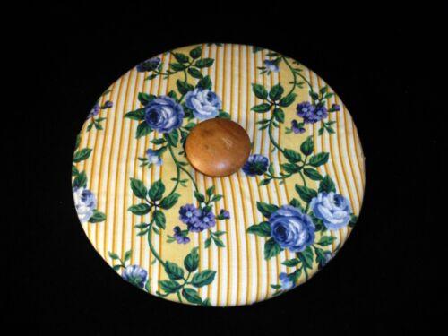 Longaberger Yellow Rose Trellis Padded Round Lid Blue Floral Yellow Stripe