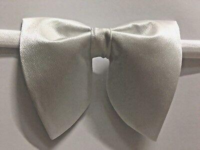 Handmade Oversized White Satin Bow tie Vintage style 70`s Wedding Prom  White Satin Bow Tie