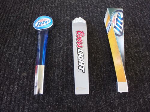 MILLER LITE AND COORS LIGHT BEER TAP HANDLES  3 IN LOT  12 INCHES