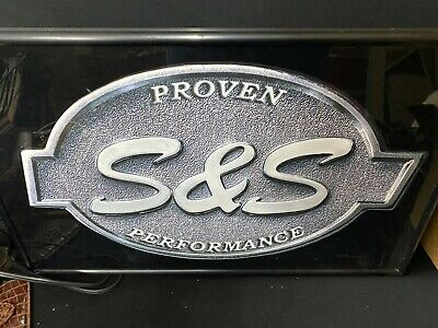 VINTAGE S. &. S PERFORMANCE CYCLE ADVERTISING LIGHT UP SIGN WORKING CONDITION