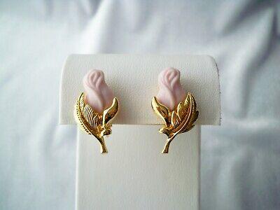 Vintage Avon Pink Porcelain Rose Bud Gold Tone Clip On Earrings