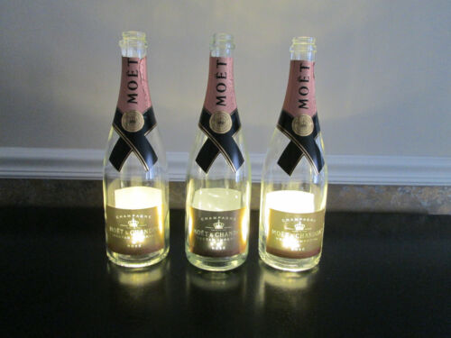 Lot of 3 Empty Moet & Chandon Nectar Imperial Rose Illuminated Champagne Bottles