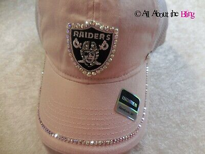 Raiders Women's NFL hat Pink Custom hand jeweled with SWAROVSKI Crystals](Custom Raiders Hat)