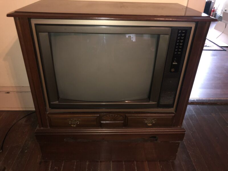 Works Vintage GE General Electric Console TV 25 inch Color Television Mint