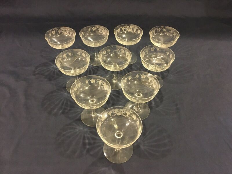 10 ANTIQUE CRYSTAL STEMMED CHAMPAGNE GLASSES CUT ETCHED GRAPE DESIGN