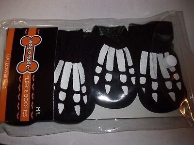 Skulls Fleece Booties Halloween Dog M/L puppy new costume pet - A Halloween Puppy