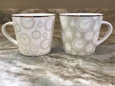 (Grace's Teaware Coffee Mug Set. Clocks. White And Silver. New.)