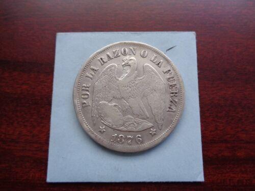 1876 Chile Un Peso large silver coin