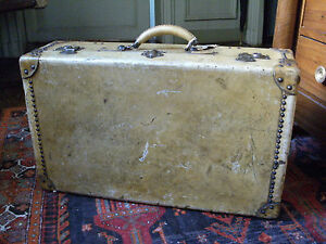 belle valise rigide malle ancienne vintage en cuir leather bag ebay. Black Bedroom Furniture Sets. Home Design Ideas