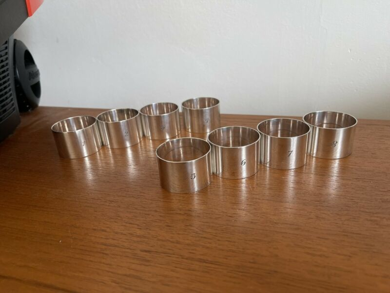 Vintage 1930s 1940s Silver Plated Numbered Napkin Rings 1-8 Nice Quality