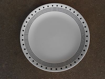 "Corelle CITY BLOCK 10"" DINNER PLATE  White with Black Squares"