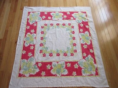 """Retro HeavyCotton Tablecloth 48"""" x 50"""" Fruits & Flowers Red/Yellow/Blue on White for sale  Stanton"""