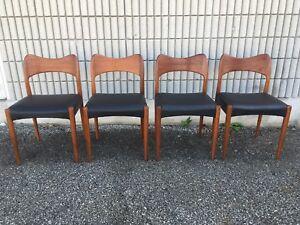 Beautiful Mid century modern Danish Teak and leather chairs