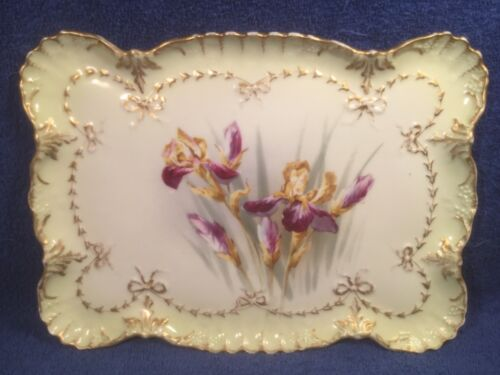 Tray Gorgeous Antique Limoges Iris Flowers & Gold Bows Dresser Tray c.1891