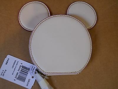 COACH X MICKEY White Mickey Mouse Ears Leather Coin Purse F59071 New with Tags