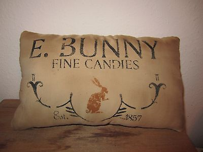Primitive Stenciled Pillow -E. Bunny fine candies - Spring/Easter