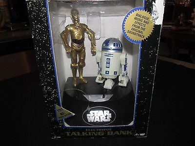 Vintage 1995 Star Wars C3po And R2d2 Electronic Talking Coin Bank By Thinkway